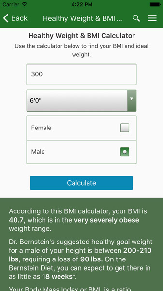 Get the Bernstein Diet App bmi