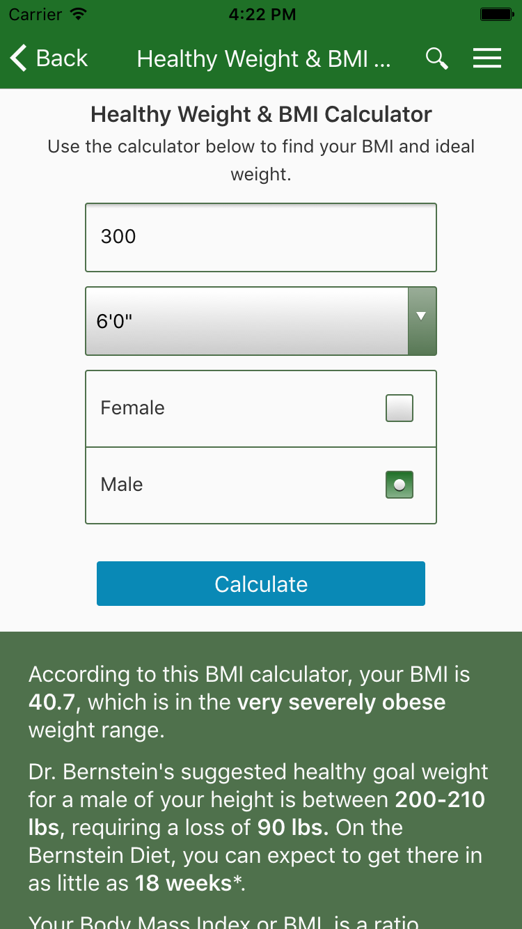 Dr Bernstein's Healthy Weight Calculator Is Designed To Give You An  Accurate And Realistic Idea Of